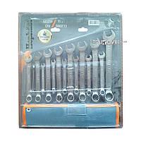 ☑️ Набор ключей рожково-накидных CRV DIN 3113 15шт(6,7,8,9,10,11,12,13,14,15,16,17,18,19,22мм) в брезен