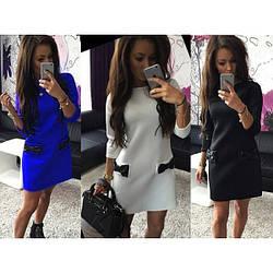 Платье из французского трикотажа «Бантики» Бордо/Красный/Молоко/ Т.-синий/Черный/Электрик