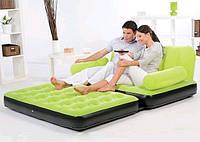 Надувной диван-трансформер 5 в 1 BestWay 67356 Зелёный Comfort (Air-O-Space) (188x152x64) + насос 220V. Велюр.