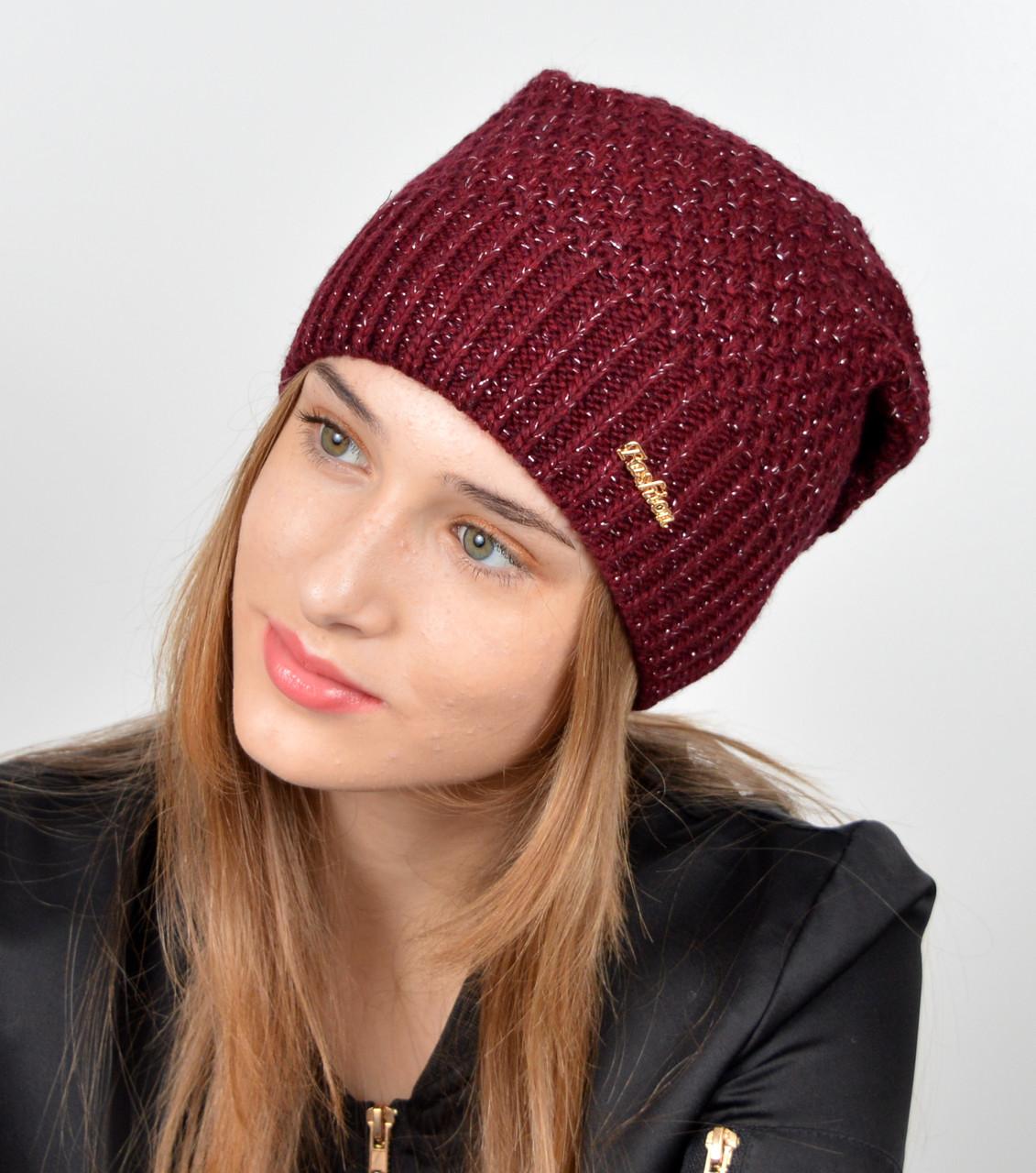 """Женская шапка """"Морошка"""" Марсала"""