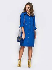Стильне плаття-сорочка прямого крою з незвичайними кишенями темно-синій 60541/2 розмір 44,46,48,50,52,54, фото 3
