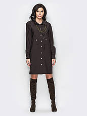 Стильне плаття-сорочка прямого крою з незвичайними кишенями темно-синій 60541/2 розмір 44,46,48,50,52,54, фото 2