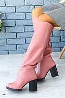 Крутые сапоги из натуральной кожи розового цвета