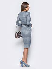Трикотажна сукня-футляр в англійському стилі клітинка світло-сірий 43212 розмір 44,46,48,50, фото 2
