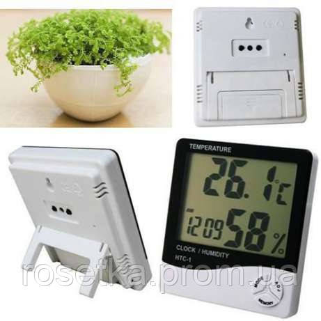 Электронный гигрометр-термометр HTC-1, измеритель температуры и влажности с будильником и часами