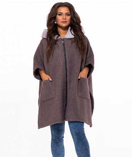 e4166c75256 Свободное пальто пончо с капюшоном мех батал - СТИЛЬНАЯ ДЕВУШКА интернет  магазин модной женской одежды в
