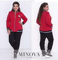 Осенне-зимний спортивный костюм-двойка на флисе состоит из куртки на молнии и прямых брюк р. 50-62