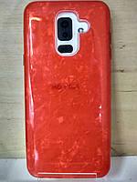 Силиконовый чехол Мрамор красный Samsung Galaxy A6 Plus 2018