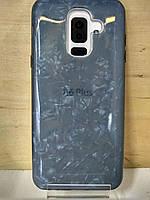 Силиконовый чехол Мрамор черный Samsung Galaxy A6 Plus 2018