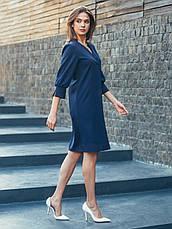 Плаття-міді прямого крою з костюмної тканини синій 49031 розмір 44,46,48, фото 2
