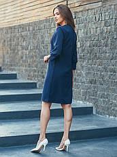Плаття-міді прямого крою з костюмної тканини синій 49031 розмір 44,46,48, фото 3