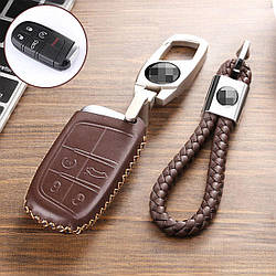 Кожаный чехол для ключа Jeep Cherokee,Grand Cherokee,Renegade,Commander,Grand Commander,Wrangler,Compass