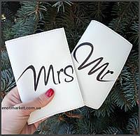"""Обложка на паспорт """"Парочка Mr. & Mrs."""" (комплект 2 шт.), фото 1"""