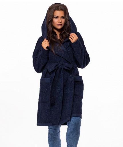 Демисезонное пальто на запах с капюшоном для полных темно синее