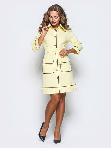 Приталені плаття з відкладним коміром і рукавом ¾ жовтий 65726/2 розмір 42,44,46,48,50, фото 2