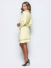 Приталені плаття з відкладним коміром і рукавом ¾ жовтий 65726/2 розмір 42,44,46,48,50, фото 3