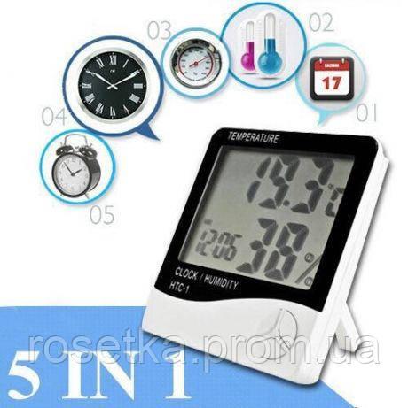 Домашній цифровий термометр HTC-1 з функцією гігрометра, годинником та будильником