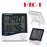Домашній цифровий термометр HTC-1 з функцією гігрометра, годинником та будильником  , фото 2