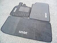 Текстильные серые коврики для Smart Fortwo 450 (в салон и в багажник)
