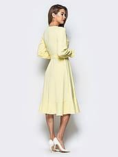 Плаття-міді на запах з м'яким воланом по низу жовтий 65725/2 розмір 42,44,46,48,50, фото 2