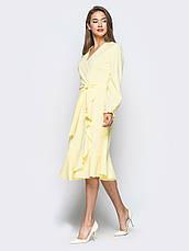 Плаття-міді на запах з м'яким воланом по низу жовтий 65725/2 розмір 42,44,46,48,50, фото 3