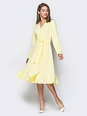 Плаття-міді на запах з м'яким воланом по низу фіолетовий 65725 розмір 42,44,46,48,50, фото 2