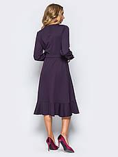 Плаття-міді на запах з м'яким воланом по низу фіолетовий 65725 розмір 42,44,46,48,50, фото 3