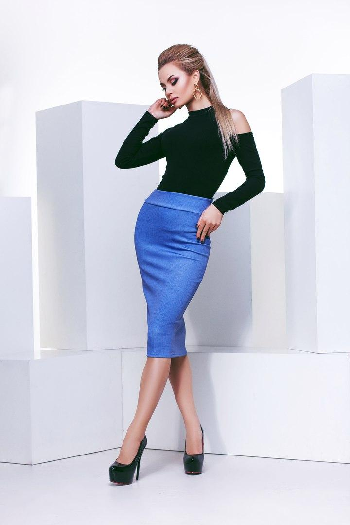 """Офисная женская юбка-карандаш """"LADA"""" с завышенной талией"""