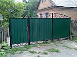 Распашные ворота 3500х2000 заполнение профлистом, фото 3
