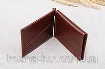 Зажим для денег коричнево-бордовый с откидной визитницей, кожа, фото 3