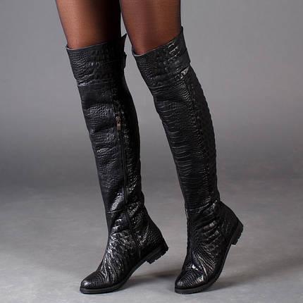 Ботфорты кожаные на плоском каблуке с тиснением под рептилию размер 36-41, фото 2