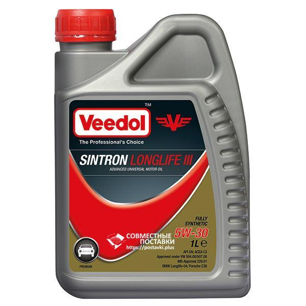 Масло моторное VEEDOL SINTRON LONGLIFE III 5W‐30 1 литр Премиум-класс синтетика