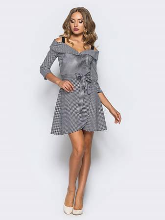 Однотонне плаття-міні з відкритими плечима і рукавом 3/4 чорний розмір 42,44,46, фото 2