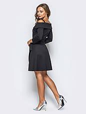Однотонне плаття-міні з відкритими плечима і рукавом 3/4 чорний розмір 42,44,46, фото 3