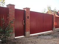 Распашные ворота 5000х2500 заполнение профлистом , фото 1