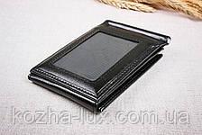 Зажим для денег с откидной кредитницей, чёрный, фото 3
