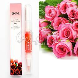"""Масло для кутикулы """"OPI Cuticle Revitalizer Oil"""" карандаш с кисточкой 5 мл (роза)"""