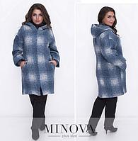f20b0c821a9 Уютное осеннее пальто прямого кроя в клетку. Пальто дополнено капюшоном и  карманами р. 48
