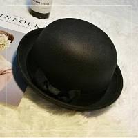 Шляпа женская котелок с бантиком черная