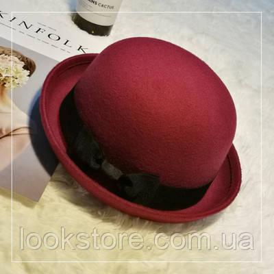 Шляпа женская котелок с бантиком бордовая (марсала)