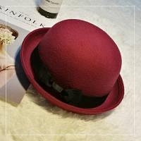 Шляпа женская котелок с бантиком бордовая (марсала), фото 1