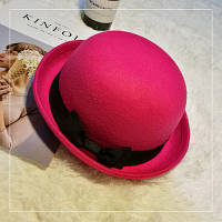 Шляпа женская котелок с бантиком розовая
