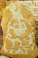 """Картина на камне """"Кум и кума"""""""