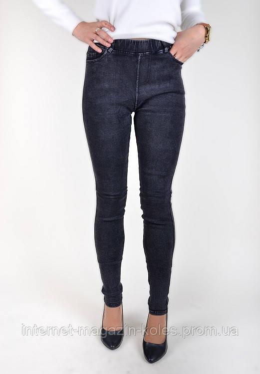 Утепленные черные джинсовые лосины