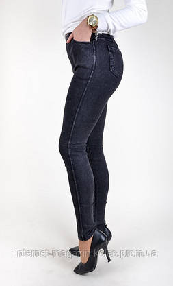 Утепленные черные джинсовые лосины, фото 3