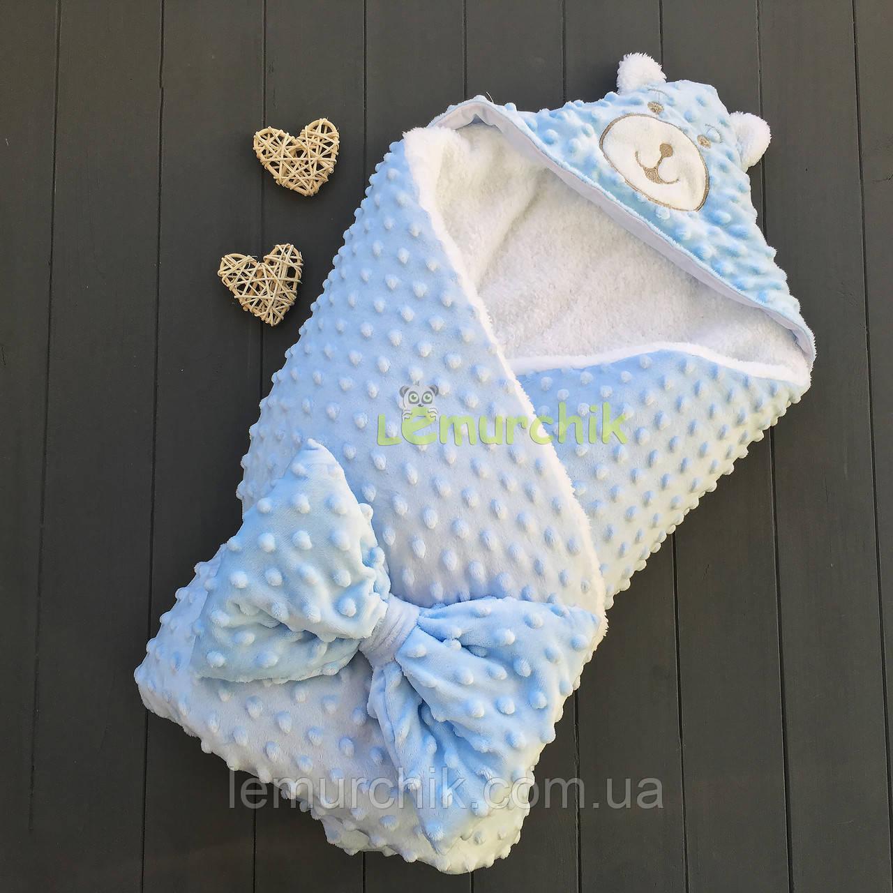 Конверт-одеяло минки на махре с ушками, голубой