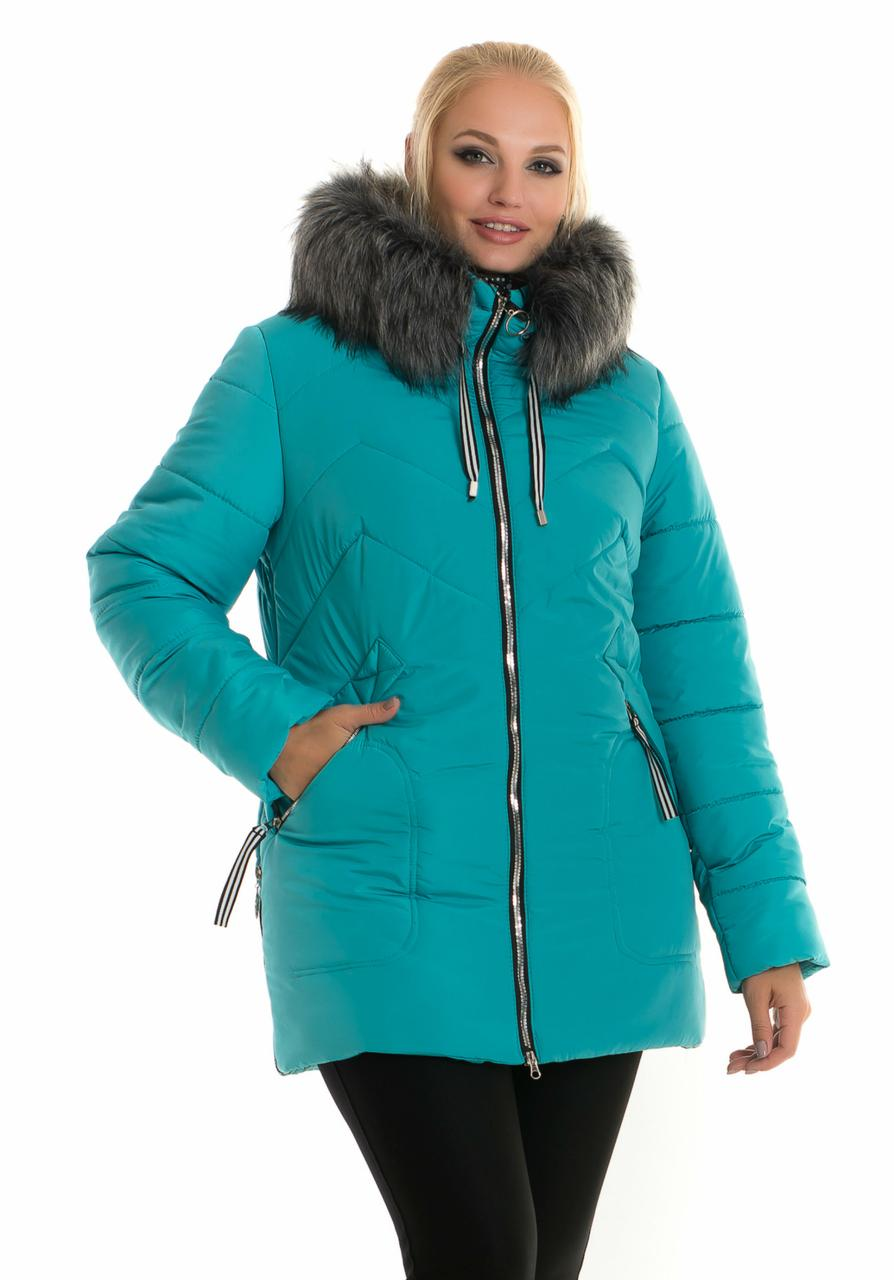 Короткая женская теплая куртка с искусственным мехом