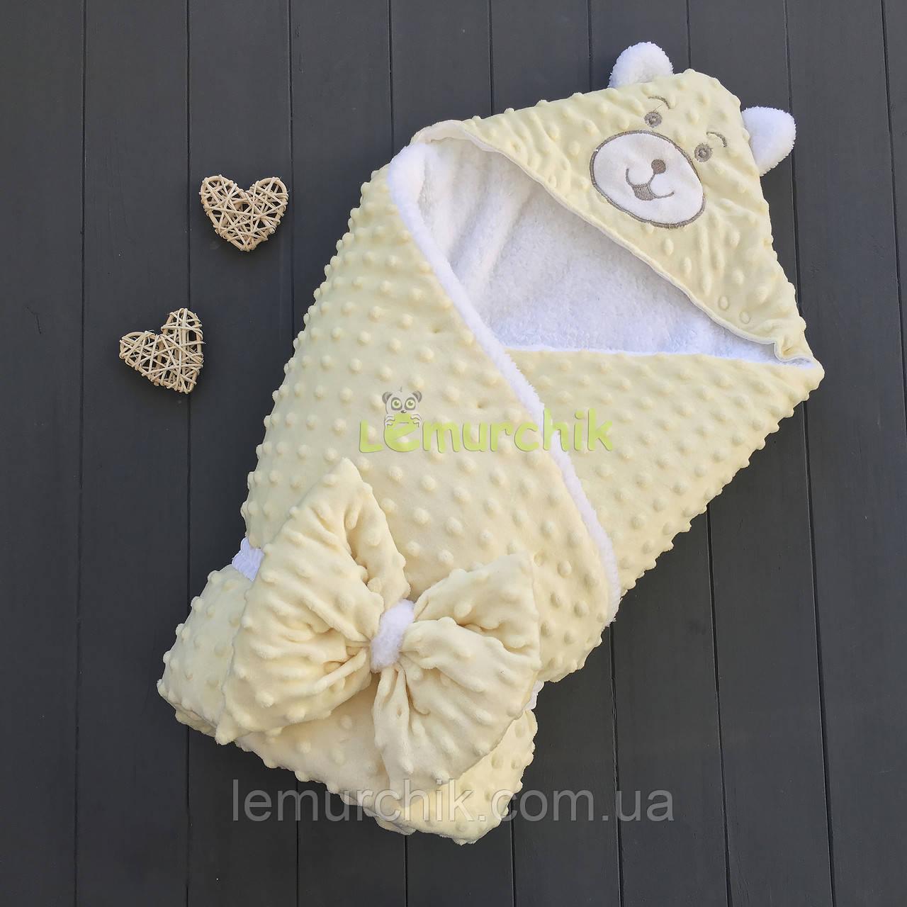 Конверт-одеяло минки на махре с ушками, нежно-желтый
