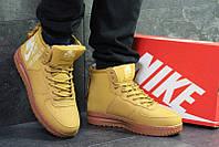 5fbb319a Кроссовки мужские найк эйр форс 1 зимние с мехом кожаные нубук (реплика) Nike  Air