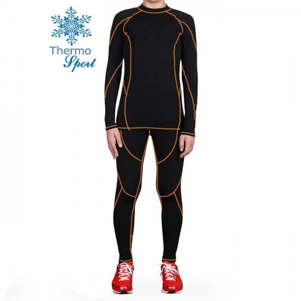Термобелье мужское FIREPOWER Sport Polarflis-Stretch Черное с оранжевым